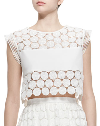 Stellan Crocheted Floral Crop Top