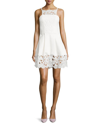 Cole Embossed Floral-Lace Dress