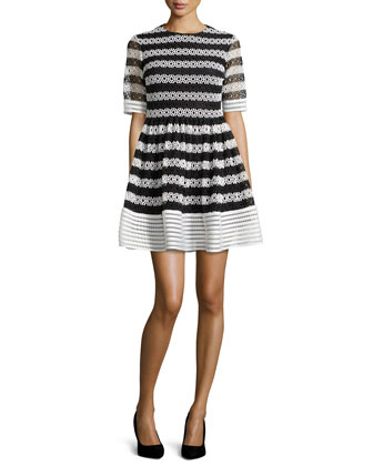 Amir Striped Crochet Pleated Dress, Black/White