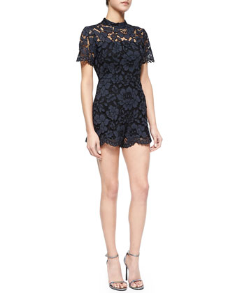 Winn Open-Back Short Lace Jumpsuit