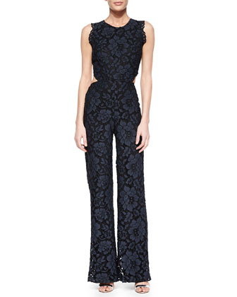 Livia Open-Back Lace Jumpsuit