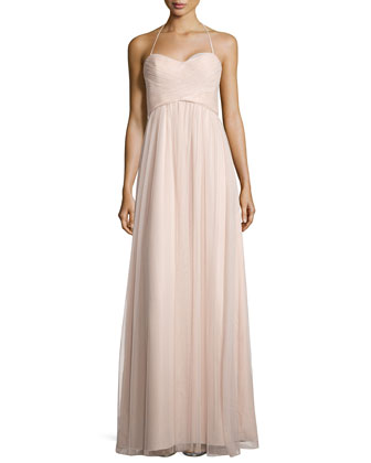 Braided-Front Tulle Halter Gown, Fawn