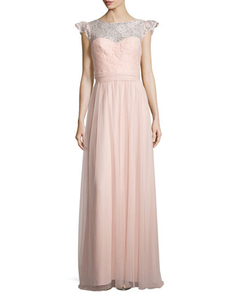 Cap-Sleeve Lace-Trim Tulle Gown, Blush