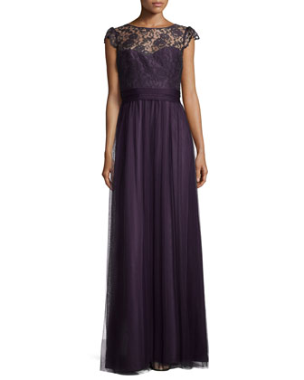 Cap-Sleeve Lace-Trim Tulle Gown, Raisin