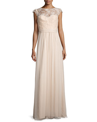 Lace-Trim Sleeveless Tulle Gown, Fawn