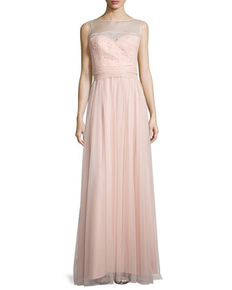 Lace-Trim Sleeveless Tulle Gown, Blush