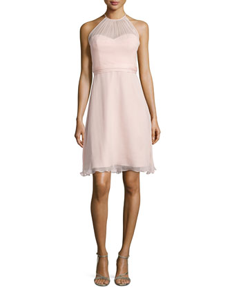 Sweetheart-Illusion Chiffon Cocktail Dress, Blush