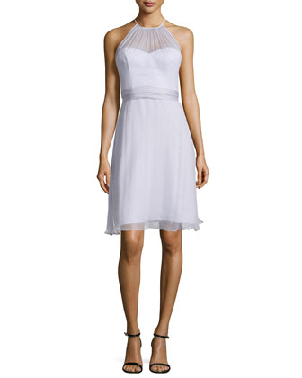 Sweetheart-Illusion Chiffon Cocktail Dress, Lilac