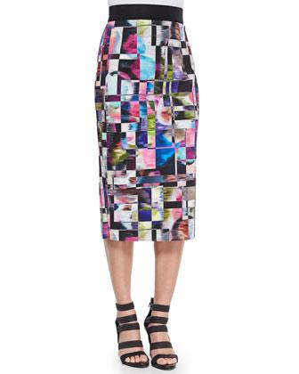 Cubist-Print Midi Pencil Skirt