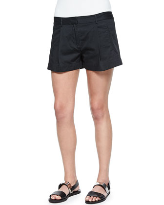 Short-Sleeve Cotton Blouse & Pleated Twill Shorts