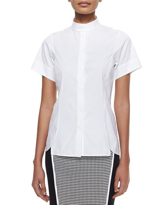 Short-Sleeve Stretch Cotton Shirt