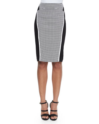 Omega Grid-Print Paneled Pencil Skirt