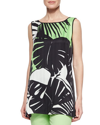 Merryn Sleeveless Tropical-Print Blouse & Stanton Straight-Leg Ankle Pants