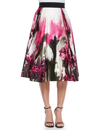 Marie Crepe Tank & Katie Painted Floral-Print Midi Skirt