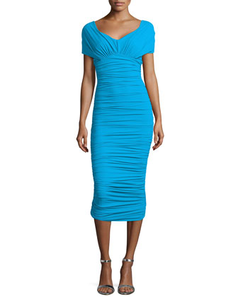 Samira Cap-Sleeve Ruched Sheath Dress