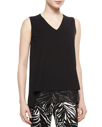 Sleeveless V-Neck Top with Georgette Trim
