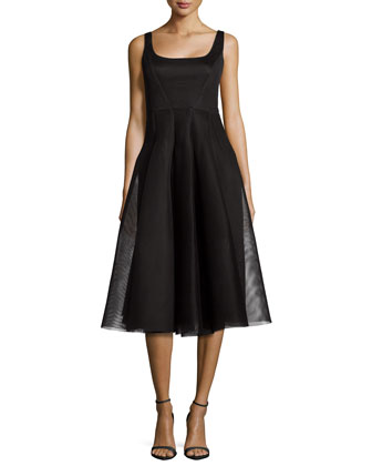 Sleeveless Organza Cocktail Dress, Black