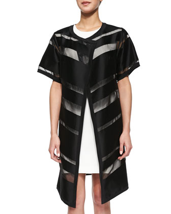 Striped Fil Coupe Open Topper & Cap-Sleeve Modern Sheath Dress