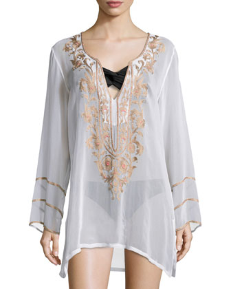 Belle Floral Beaded Tunic, White