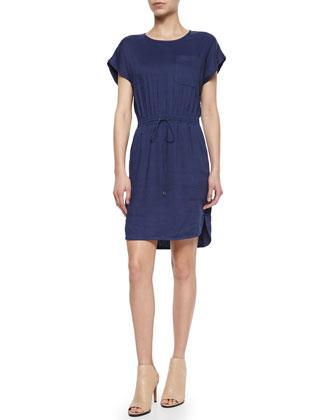 Short-Sleeve Drawstring Slub Dress