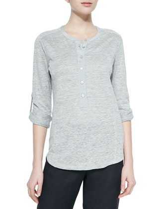 Long-Sleeve Slub Henley Tee