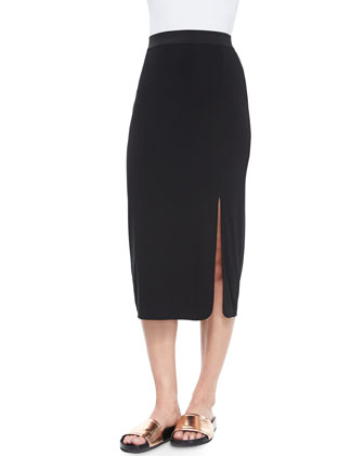 Long Slit Stretch-Knit Skirt