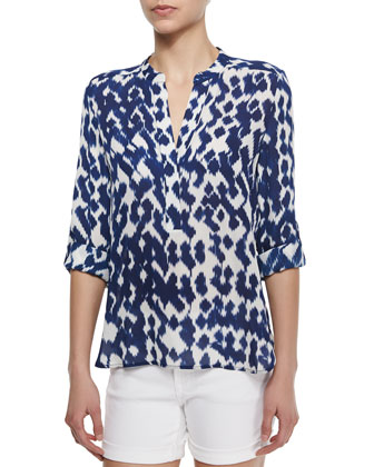 Ikat-Print Georgette Blouse & Mason Cuffed Denim Shorts