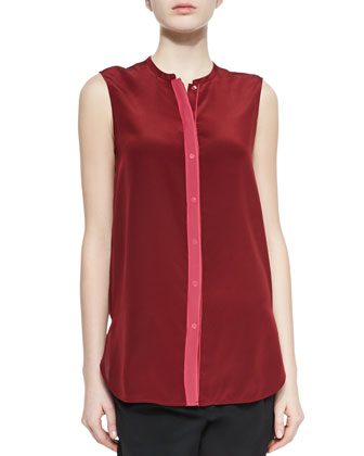 Contrast-Front Satin Blouse