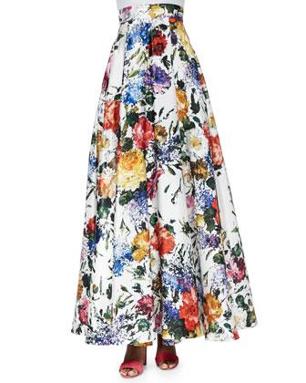 June Floral-Print Bustier & Kamal Floral-Print Ball Skirt