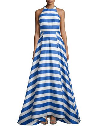 Marsha Striped Sleeveless Gown, Blue/White