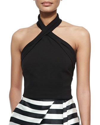 Ponte Knit Cross-Front Halter Top