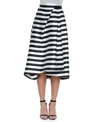 Ponte Knit Cross-Front Halter Top & Striped Full Skirt with Pleats