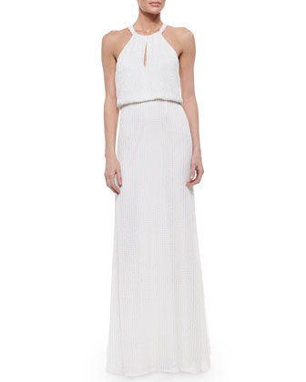 Marceline Beaded Blouson Column Gown
