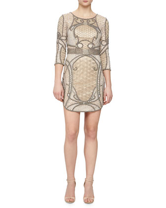 Harley 3/4-Sleeve Beaded Cocktail Dress