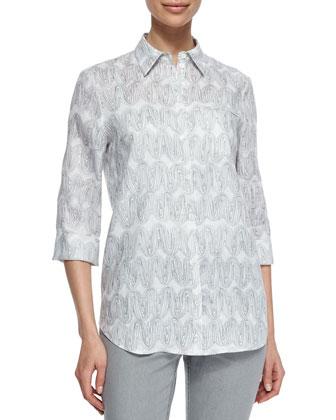 Wave Art Print 3/4-Sleeve Shirt, Gray
