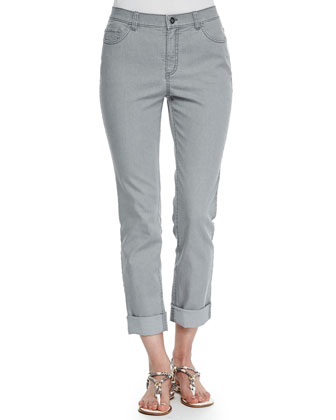 Curvy Double-Cuff Cropped Jeans, Gray