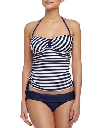 Miami Striped Bandini Swim Top, Navy