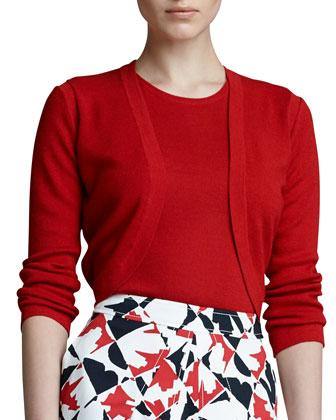 Long-Sleeve Knit Bolero, Mercury Red