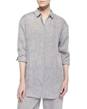 Sabira Long-Sleeve Linen Blouse