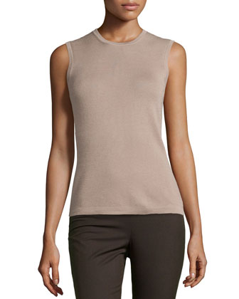 Sleeveless Cashmere Blend Shell, Sand
