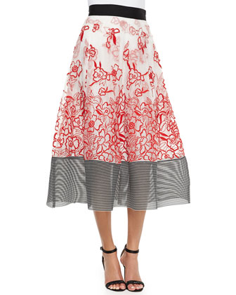 Embroidered Floral Midi Ball Skirt