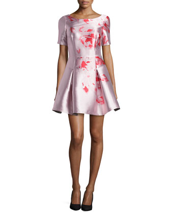 Floral-Print A-Line Party Dress, Pale Pink