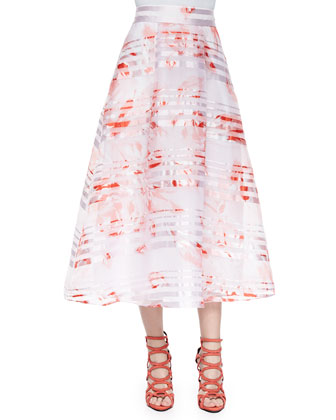 Rose-Print Tea-Length Ball Skirt