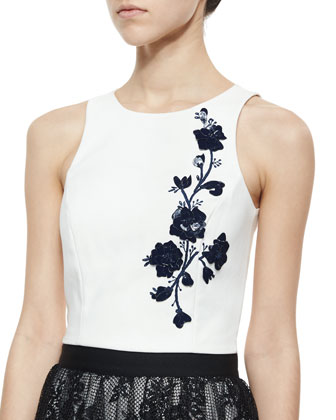 3D Floral Embroidered Tank