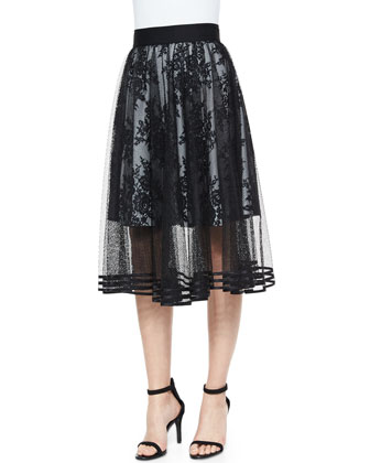 Mesh Overlay Tea-Length Ball Skirt