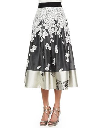 Embroidered Floral Midi Ball Skirt