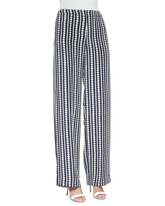 Penley Patterned Wide-Leg Pants