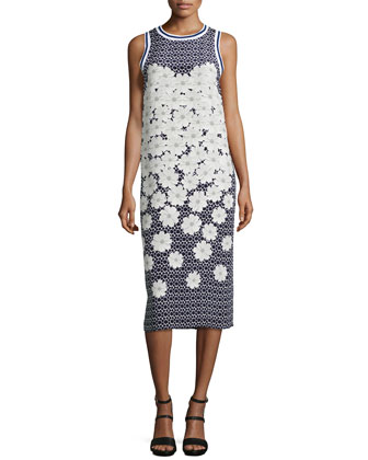 Elia Silk Floral-Print Dress, Navy