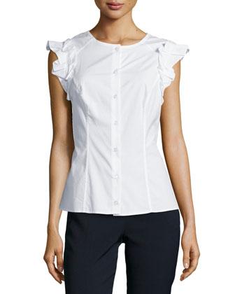 Cotton-Blend Flutter-Sleeve Blouse, White