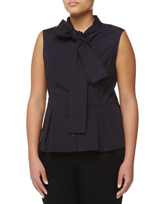 Tie-Neck Peplum Sleeveless Blouse, Navy